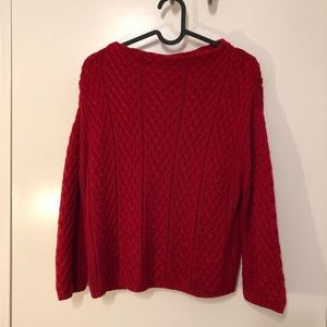 Holly red wideneck cable knit sweater